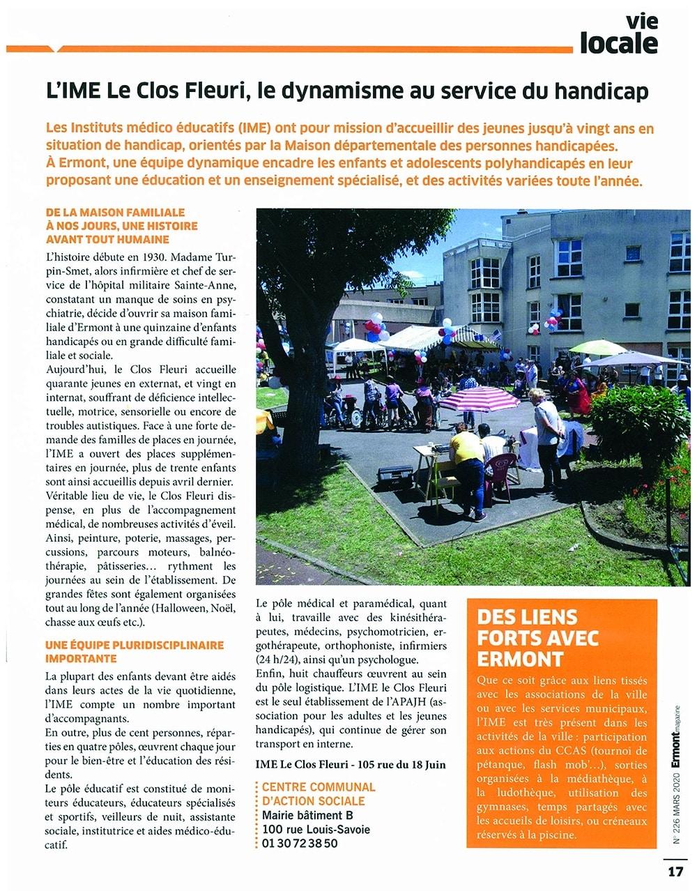 Article IME Le Clos Fleuri au service du handicap